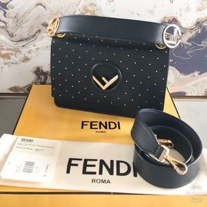 Fendi Kan I Medium Studded Leather Shoulder Bag